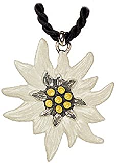 Edelweiss Flower German Pewter Necklace Made in Germany