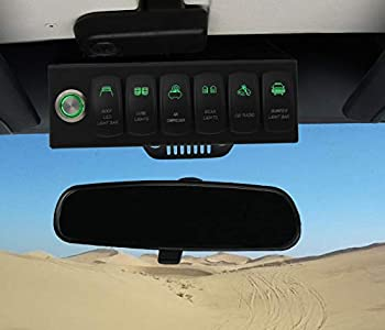 Apollointech Wrangler JK & JKU 2007-2018 Overhead 6-Switch Pod/Panel in Green Backlight with Control and Relay Box  Comes with 12 Laser Switch Covers