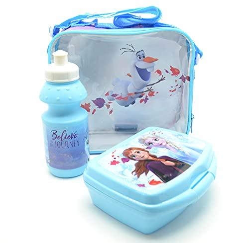 Design Frozen, portapranzo, portapranzo, borsa per il pranzo e borraccia sportiva, stile principessa, neve,
