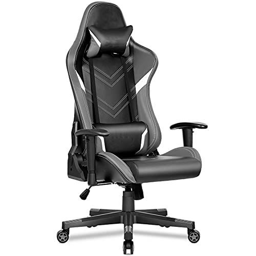YQX-Gaming Chair PC Computer Office Rennstuhl Mit Gepolsterten Armlehnen Ergonomie Schreibtischstuhl Leder-PC-Stuhl Mit Hoher Rückenlehne,Grau