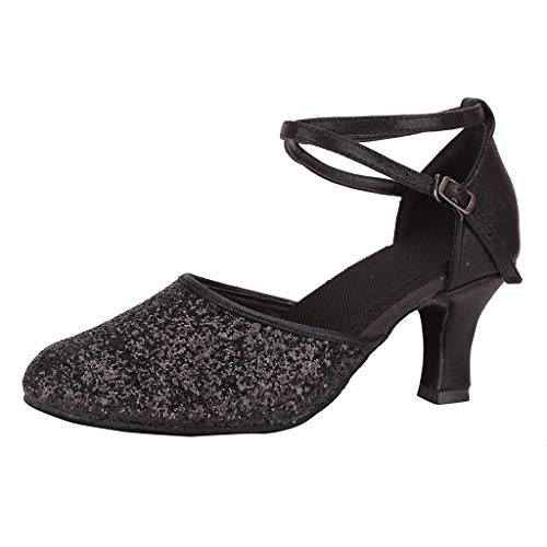 TIFIY-Damen Tanzschuhe Fashion Womens Waltz Modern Dance Schuh Ballsaal Latin Dance Soft Bottom Sandalen Party Tanzen Stylisch Cha cha Schuhe Schwarz 39