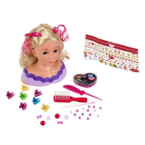 Theo Klein 5399 Princess Coralie Styling Head Little Emma, Schminkkopf, Frisierkopf inklusive Kosmetik und Zubehör