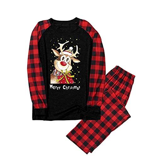 Weihnachten Familie Schlafanzug Outfit Nachtwäsche Herren Damen Jungen Lang Pyjamas Set mit Weihnachtsmotiv Fun-Nachtwäsche Warmer Weihnachtsanzug Printed Home Kleidung Pyjamas 2 Stücke