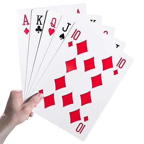 Monsterzeug Riesen Spielkarten XXL 28x20 cm, Übergroßes Jumbo Blatt, Skat Rommee Poker, 54 Stück