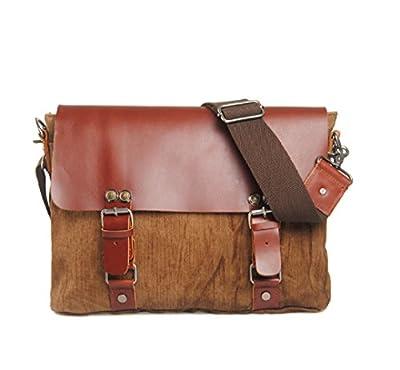 nasis Fashion Toile véritable Garniture en cuir Sacoche de voyage sac à dos pour ordinateur portable sac Messenger sac à bandoulière al4046