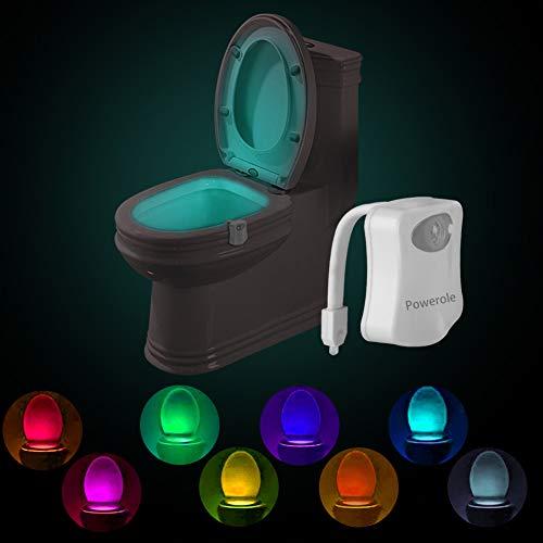 Powerole Lot de 1 Lampe Toilette Veilleuse Capteur de lumière PIR Motion Sensor Éclairage changeant de couleur imperméable à l'eau 8 Couleurs LED veilleuse de toilette pour enfants