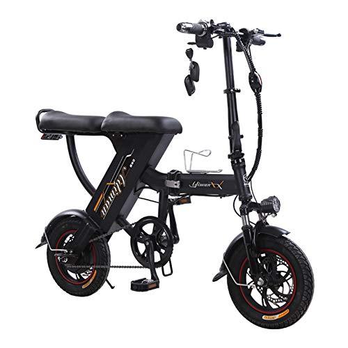ONLYXKZ Bicicleta eléctrica Plegable, Bicicleta con batería de Litio. Mando a Distancia antirrobo, Color Negro, tamaño 15A