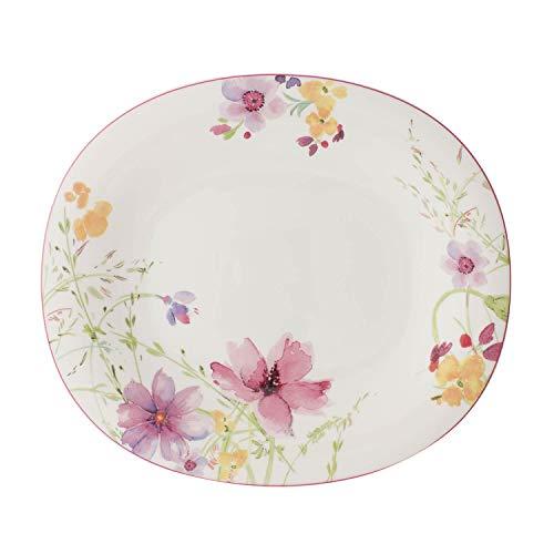 Villeroy & Boch Mariefleur Basic Assiette plate ovale, 29 x 25 cm, Porcelaine Premium, Blanc/Multicolore