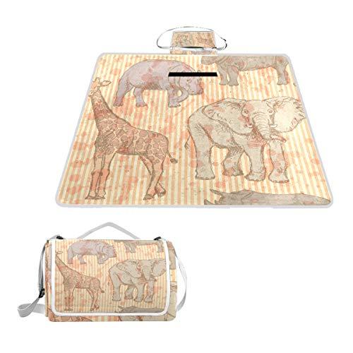 TIZORAX Couverture de Pique-Nique imperméable pour extérieur Motif éléphant Rhino Girafe et Hippopotame