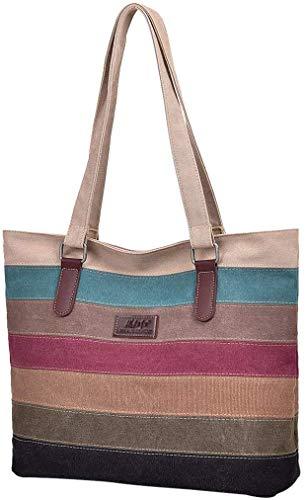 Borsa Donna, Borse a Mano Borse Tela Borse Tracolla Multi Colore Strisce Borse a Spalla Borsetta Messenger Bag