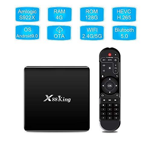 TOHHOT Electrónica X88 King TV Box 4GB LPDDR4 SDRAM 128G Flash para Amlogic S922X Android 9.0 Dual WiFi BT5.0 1000M RJ45 4K Media Player Negro Puro Regulaciones Europeas