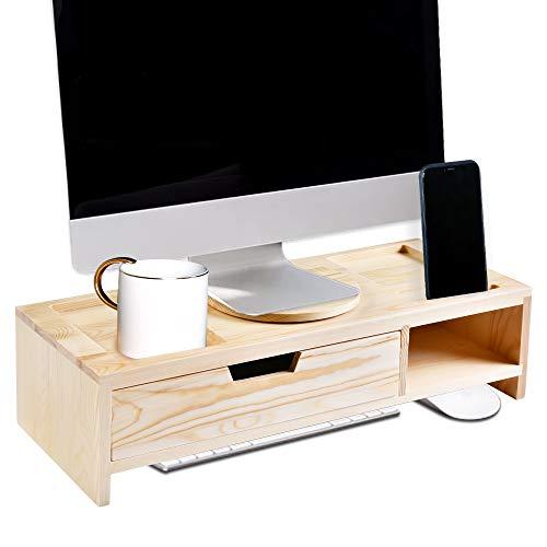 LAPTAIN パソコン台 モニター台 机上台 引き出し付き 木製 卓上 机上 ラック キーボード 収納 2段 幅50cm 高さ13㎝ 完成品 組み立て不要 角度調整 回転機能付き