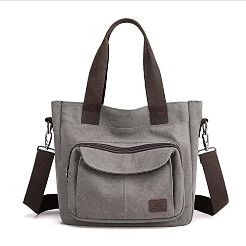 MAJFK Bolso de lona para mujer, bolso de hombro de lona, bolsa de hombro de moda, gran capacidad, gran capacidad para compras, color gris