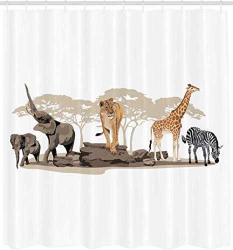Brandless Safari Duschvorhang Illustration Von Wilden Savannen Tiere Exotische Giraffe LöWe Elefant Zebra Badezimmer Dekor Set Mit Haken-B90xH180cm