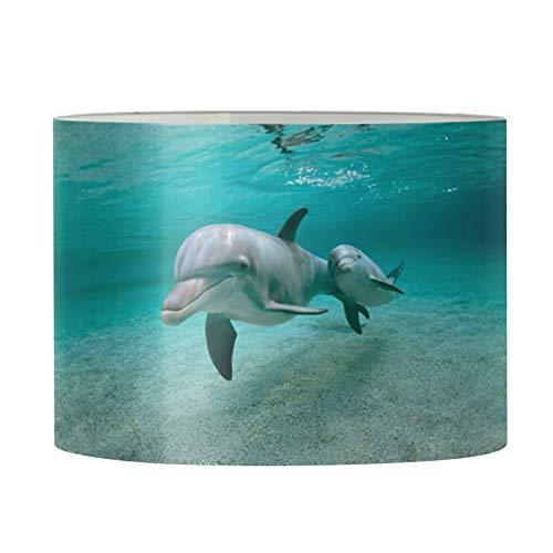 Aulaygo Pantalla redonda para lámpara de mesa, lámpara de suelo, dormitorio, sala de estar, decoración para mujeres, hombres, niños, diseño de delfín, araña, pequeña, 11.2 x 6.7 pulgadas