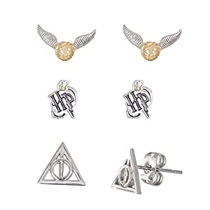 Officially Licensed Harry Potter Jewelry Silver Plated Snitch Harry Potter Logo & Deathly Hallows Emblem Delivered in a Harry Potter Emblem Gift Box making it the ideal Birthday Graduation Christmas or Valentine's Day Present Great idea for every gif...
