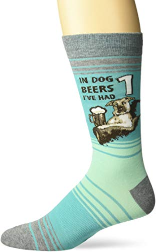 K. Bell Men's Play On Words Novelty Crew Socks, Turquoise (Dog Beers), Shoe Size: 6-12
