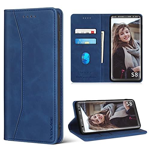 ivencase Handyhülle Kompatibel mit Samsung Galaxy S8 Hülle, Luxus PU Leder Tasche Flip Hülle, Standfunktion Kartenfächer & Magnet Klappbar Stoßfeste Schutzhülle - Blau