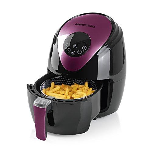GOURMETmaxx Heißluft-Fritteuse XL mit digitalem Display 2,5 Liter | Air Fryer ohne Fett und Öl für bis zu 4 Personen [1.500 Watt / Schwarz/Beere]