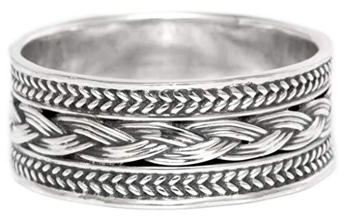 Windalf Wikingerring Wingard h: 0.8 cm Flechtmuster Hochwertiges Silber (Silber, 60 (19.1))