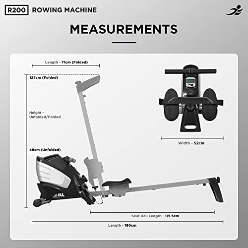 JLL® R200 Home Rowing Machine, 2021 Model Rowing Machine Fitness Cardio Workout with Adjustable Resistance, Advanced Driving Belt System, 12-Month Warranty, Black and Silver Colour