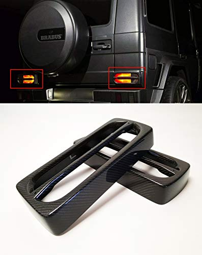 kit-car Mansory - Brabus Style Tail Light Trim Carbon Fiber Cover - Rear Lights Carbon Cover - for W463 Mercedes Benz G-Class G63 AMG G55 G65 - Set of 2 pcs