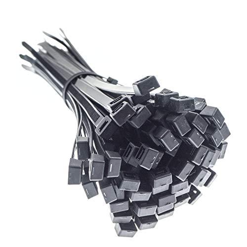 CW Handel - Sujetacables de primera calidad, ultra resistente, negro (100 piezas, 300 mm x 7,6 mm) Resistente a rayos UV, calor y frío, calidad probada