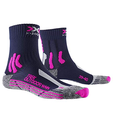 X-Socks Trek Outdoor Woman Socks, Calze Calza Calzini Donna, Midnight Blue/Pink/lt Grey Melange, 39/40