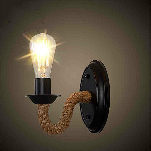 E27 Moderne Industrie Wandlampen, Mini Antike LED Hanfseil Schnur Wickeleisen Gebogene Hängelampe Wandleuchten Europa Vintage Wandleuchte Bar Aisle Esstisch Restaurant, Café, Flur Wandleuchte