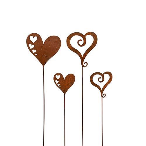 Herz, Herzen; Metall, Rost; 4 Stück; 2 Modelle und Größen; Gartenstecker, Beetstecker, Blumenstecker