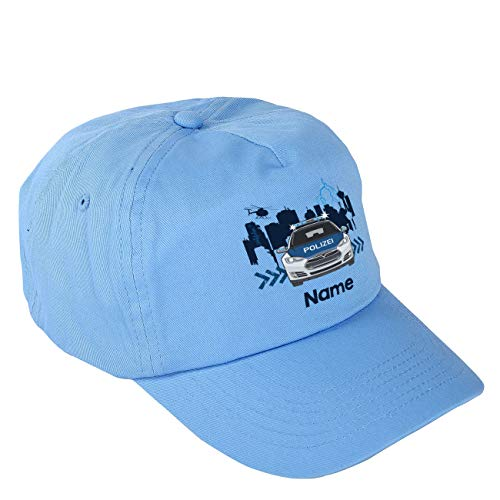 Striefchen® Blaues Polizei Basecap für Jungs mit eigenem Namen