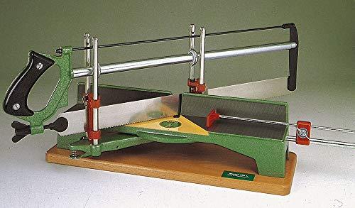 Ulmia zaag (verstekzaag) - met lengte-instelling, alle oppervlakken kunsthars gelakt, voetbraad natuurlijk gelakt, incl. tandpuntige gehard zaagblad voor hout, tafelafmetingen: 440 x 75 x 45 mm - 352L