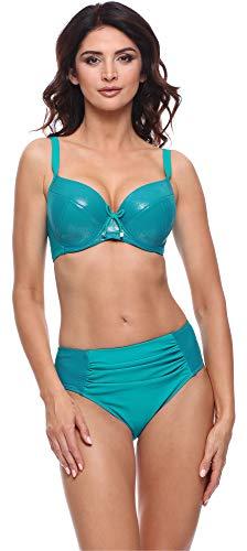 Merry Style Damen Bikini Set P618114EB (Glänzend Türkis, Cup 75 D/Unterteil 38)
