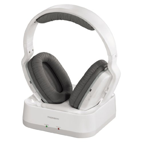 THOMSON WHP3311W - Auriculares inalámbricos UHF (sistema PLL, alcance 100 m, jack 3.5 mm, 107 dB) blanco