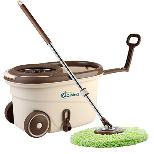 Oshang EasyWring Spin Mop and Bucket, Hands-Free