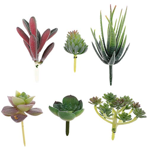 TOYANDONA 6 Piezas Plantas Suculentas Artificiales Selecciones Suculentas Plantas Falsas Realistas Faux Cactus Aloe Crear Arreglos Suculentos para La Decoración del Hogar Arreglos Florales