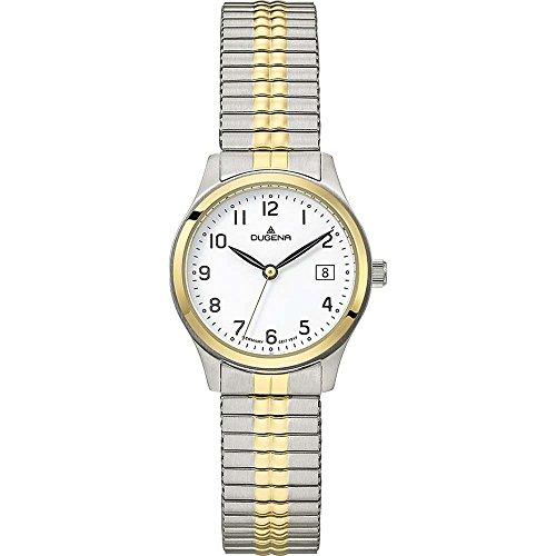 Dugena Herren Armbanduhr Bari Edelstahl 28mm silber/gold