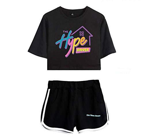 LYJNBB Femme Charli D'Amelio Costume de T-Shirt, La Maison Hype Impression à Manches Courtes Pull Tee, Le ami Crewneck Casual Set XS-XXL,Black2,L