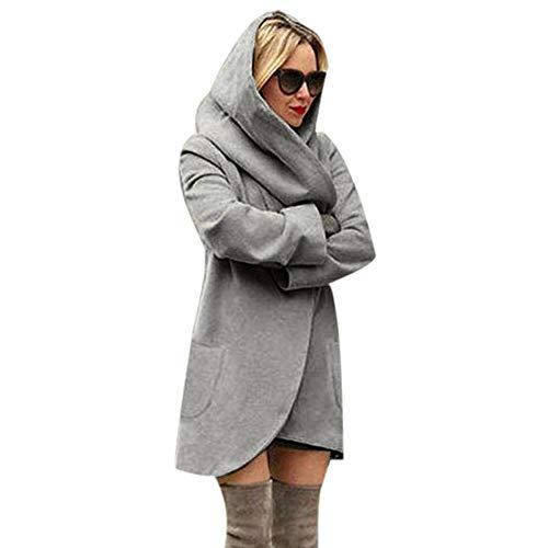 iHENGH Damen Winter Jacke Dicker Warm Bequem Lose Parka Mantel Frauen Lässig Stilvoll Woolen mit Kapuze dünnen Hoodies Top(XL,Dunkelgrau)