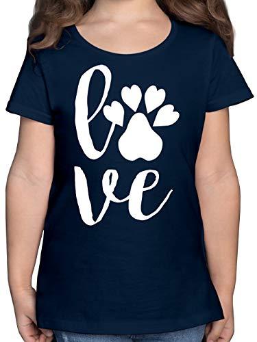 Tiermotive Kind - Tierliebe - 140 (9/11 Jahre) - Dunkelblau - Geschenk - F131K - Mädchen Kinder T-Shirt