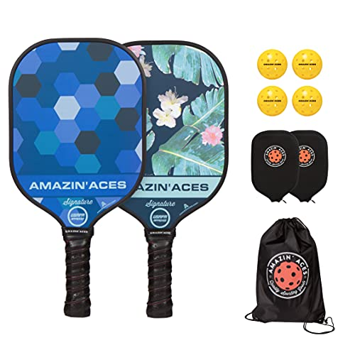 Amazin' Aces Signature Pickleball Paddle Set in Blue and Green - 2 USAPA-Approved Pickleball Rackets with Graphite Face, Honeycomb Polymer Core, 4 Outdoor Pickleballs, 2 Paddle Covers, and 1 Carry Bag