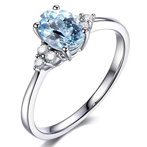 Moda Pietra preziosa Mare blu Acquamarina Ovale 585/1000 (14 carats) 14K Oro bianco Fidanzamento Da donna Diamante anello
