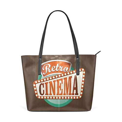 NR Multicolour Fashion Damen Handtaschen Schulterbeutel Umhängetaschen Damentaschen,Retrostil-Kino-Zeichen-Design-Filmfestival-Hollywood-Thema