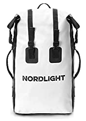 Nordlight Waterproof Backpack 30L Roll Top - with Padded Strap, Dry Bag Backpack for Water Sports, Bicycle Backpack, Courier Backpack, Trekking, Fishing, Snowboarding (White)