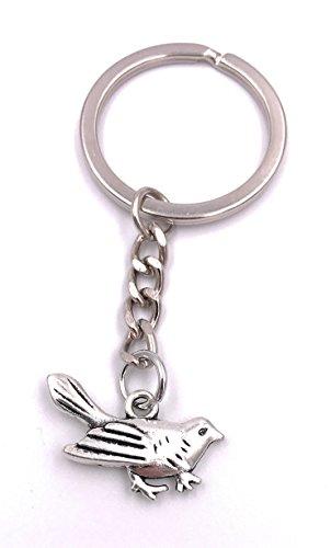 H-Customs Piepmatz Vogel Spatz Schlüsselanhänger Anhänger Silber aus Metall