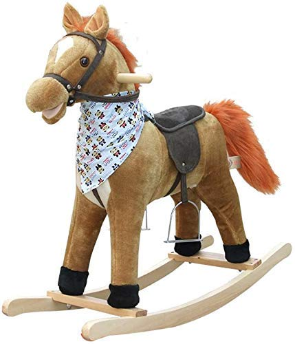 Sofa Children's Rocking Horse Music Rocking Chair Massief parket Gift Toy Paard van Troje Child Lostgaming Baby Baby (Kleur: Bruin) (Color : Brown)