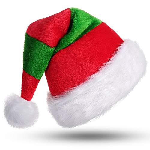 CITÉTOILE Weihnachtsmütze Nikolausmütze Dicker Fellrand aus Plüsch Nikolaus Mütze Weihnachtliche Mütze Für Erwachsene Weihnachtsfeier Weihnachtsmarkt Neuheit Streifen Rot&Grün