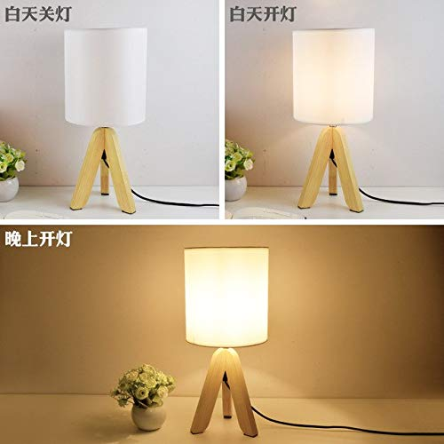 U-Enjoy Chandelier Novel Wooden Lamp 300Mm Table Top Quality Lamp Wood&Cloth Modern Industrial Table Lamp for Reading Style Desk Lighting E14 Lamp Free Shipping [White]
