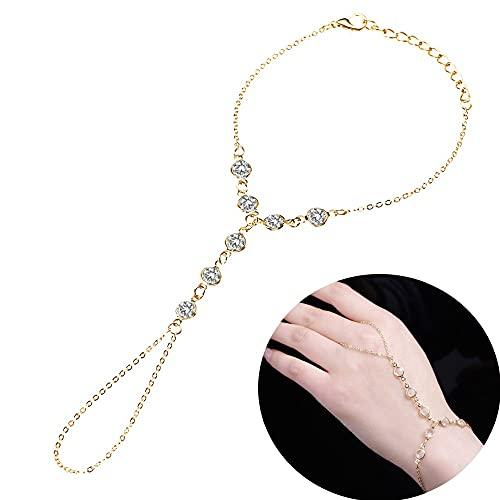 XKMY Cadena de mano con anillo Vintage Crystal Finger Pulseras y brazaletes de lujo esclavo mano enlace pulsera para mujeres Rhinestone Boho joyería