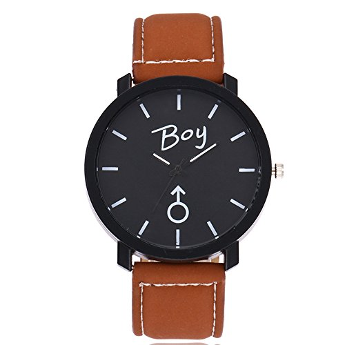 Quartz Wrist Watch,Hosamtel Simple Delicate Business Analog Watch for Couple Lovers (Brown2)